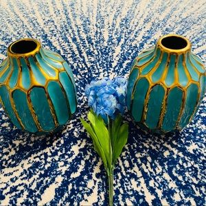 NEW Turquoise and Gold Plated Oval Flower Vases
